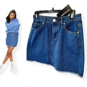 NWT Pretty Little Thing jean skirt with frayed hem